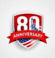 anniversary eighty sign with american flag shield vector image