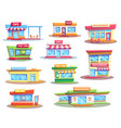 building icons fast food restaurant and cafe vector image vector image