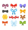 cartoon cute gift bows with ribbons color vector image vector image