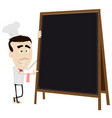 chef cook holding a blackboard vector image vector image