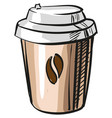coffee takeaway paper cup icon on white vector image