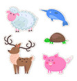 cute animals cartoon flat stickers set vector image vector image