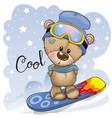 cute cartoon bear on a snowboard vector image vector image