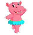 cute hippo dancing cartoon vector image