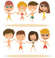 cute summer people jumping on the beach vector image vector image