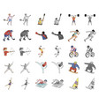 different kinds of sports cartoonmonochrom icons vector image vector image