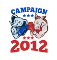 elephant donkey rep demo TXT CAMPAIGN 2012 EPS10 vector image vector image