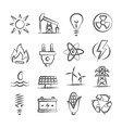 energy doodle icons vector image vector image