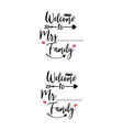 family quote lettering typography welcome to vector image vector image