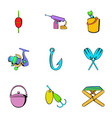 fisherman icons set cartoon style vector image