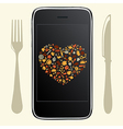 Food Icons With Phone vector image