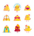funny chicken cartoon character icons set vector image vector image