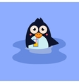 Funny Swimming Penguin with a Coctail vector image