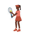 girl tennis player isolated on a white background vector image