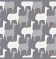 gray pink and white llama silhouette seamless vector image vector image