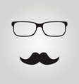hipster glasses and mustaches vector image vector image