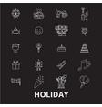 holidays editable line icons set on black vector image