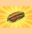 hot dog with salad and tomatoes vector image