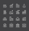 inear web icons set - buildings collection vector image
