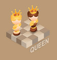 isometric cartoon chess pieces queen fla vector image