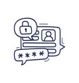 lets talk about security doodle with chat icons vector image vector image
