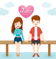 Man And Woman Sitting Together On Bridge vector image vector image