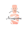 manicure nail saloon logo design element for nail vector image