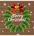 merry christmas design template with wreath vector image vector image