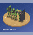 military tactics isometric composition vector image