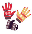 mittens and gloves isolated objects knitwear or vector image vector image