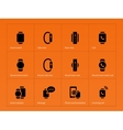 Mobile smart watch icons on orange background vector image vector image