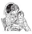 mother holding child on lap vintage vector image vector image