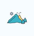 mountain landscape hill nature scene flat icon vector image