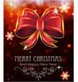 red christmas bow on holiday background vector image vector image