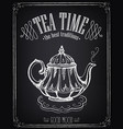 retro tea time with teapot vector image vector image