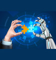 robot business man hands with puzzle vector image vector image