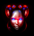 robot woman face or head front view artificial vector image