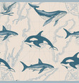 seamless pattern with hand-drawn fishes and map vector image