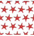 seamless pattern with red starfish vector image vector image