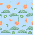 seamless pattern with tropical leaves and fruit vector image