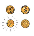 set coins with dollar sign in different styles vector image vector image