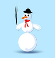 snowman with silk hat and red scarf isolated vector image