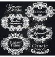Vintage Frame Set On Black Retro Background vector image