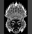 white silhouette indian wolf with feathers hat vector image vector image