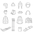 Winter Equipment Linear Icons Set vector image