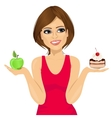 woman choosing between green apple and cake vector image vector image