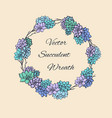 wreath of succulents and branches for invitation vector image