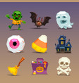 funny halloween icons-set 1 vector image