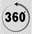 360 degrees icon on transparent background flat vector image