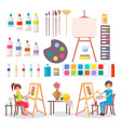 art supplies and artists isolated vector image